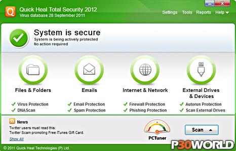 دانلود Quick Heal Total Security 2012 v13.00 – نرم افزار محافظت از کامپیوتر در برابر خطرات امنیتی