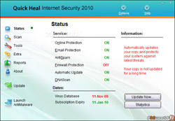 Quick Heal Internet Security 2010 – بسته بزرگ امنیتی و ضد ویروس کمپانی هندی کوئیک هیک